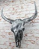 Bullenschädel Büffelschädel silber Stierkopf Skullptur 65 cm groß Wand Figur
