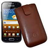 Favory Original Case for Samsung Galaxy Ace 2 i8160 with Pull-Out Tab Genuine Leather White