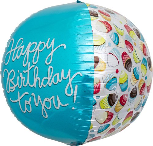 Happy Birthday Cupcake Sphere Helium Foil Balloon - 17 inch