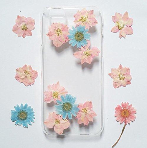 Wioucou iPhone6/6sケース 押し花 専用ケース 防水 耐衝撃 手作り 人気オシャレ 新品花柄 クリア ハンドメイド 空色とピンク 対称な花びら