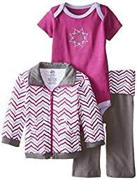 Yoga Sprout Baby-Girls 3 Piece Lotus Track Jacket Bodysuit Pant Set, Girl Lotus, 6-9 Months