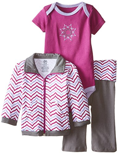 Yoga Sprout Baby-Girls 3 Piece Lotus Track Jacket Bodysuit Pant Set, Girl Lotus, 18-24 Months