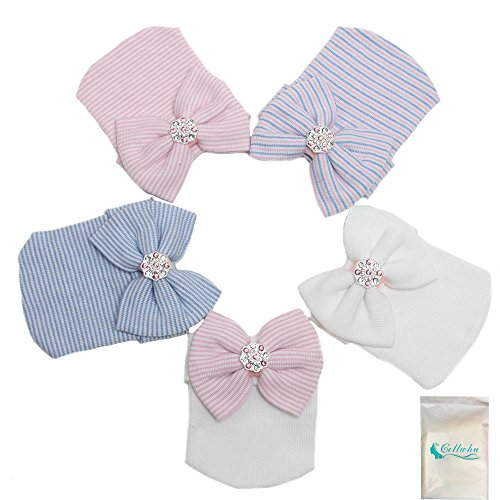 Gellwhu 1-5pcs Sparkle Gem Newborn Baby Girl Nursery Beanie Hospital Hat With Bow (5 Colors) (Newborn Cap compare prices)