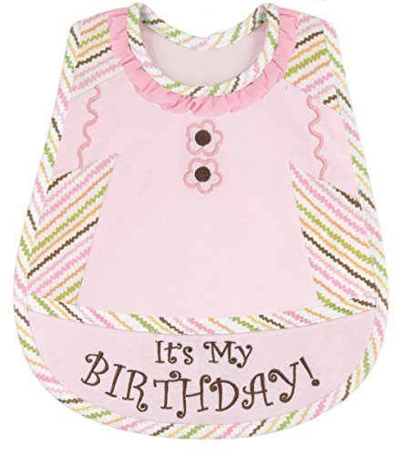 Stephan Baby Birthday Girl Embroidered 1st Birthday Bib, Pink - 1