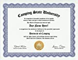 Camping Camper Degree: Custom Gag Diploma Camp Doctorate Certificate (Funny Customized Joke Gift - Novelty Item)