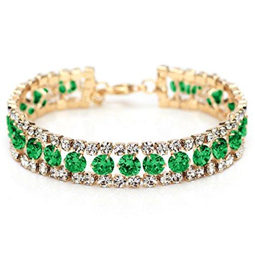 Neoglory-Cristal-Elegante-Pulsera-Brazalete-Circonitas-Verde-Rhinestones-Checos-Blancos-Oro-14k-Enchapado-Joya-Original-Regalos-para-Mujer