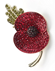 M&S Collection Large Pave Diamanté Poppy Brooch