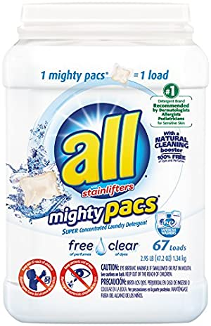 All Mighty Pacs Laundry Detergent, Free Clear Tub, 67 Count
