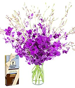 Ultimate Purple Dendrobium Orchid Bouquet (20 stems) and Scharffen Berger Chocolate -  With Vase