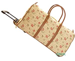 Tapestry canvas Weekend Travel/Flight/Overnight wheeled Holdall Bag with retractable handle (Rose) - Gobelin Style