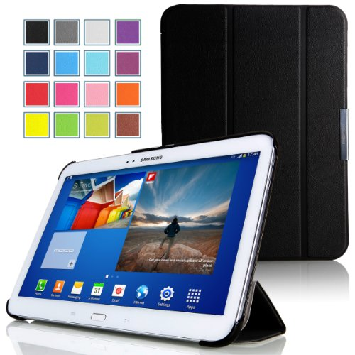 MoKo Samsung Galaxy Tab 3 10.1 Case - Ultra Slim Lightweight Smart-shell Stand Case for Samsung Galaxy Tab 3 10.1 Inch GT-P5200 / GT-P5210 Android Tablet, BLACK (with Smart Auto Wake / Sleep Feature, WILL NOT Fit GALAXY Tab 4 10.1)