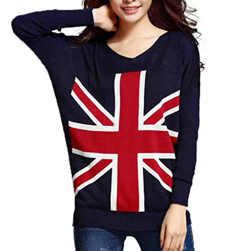 Funoc New Women Loose Union Jack Uk Flag Sweater Cardigan Knit Jumper Pullover Tops