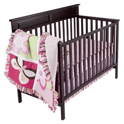 Tiddliwinks Raspberry Garden 3pc Crib Bedding Set - 1
