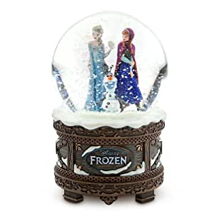 """Disney Store Frozen Anna, Elsa and Olaf Musical Snowglobe plays """"Let It Go"""""""