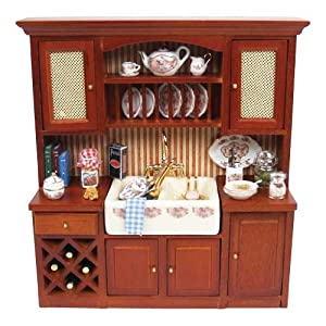 Dollhouse miniature kitchen sink cabinet with for Kitchen cabinets amazon