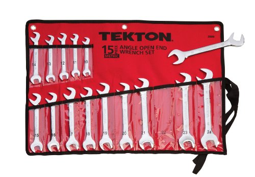 TEKTON 2009 Angle Open End Wrench Set, Metric, 15-Piece