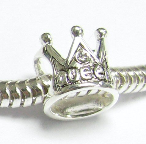 925 Sterling Silver Crown Queen Bead Charm Clear