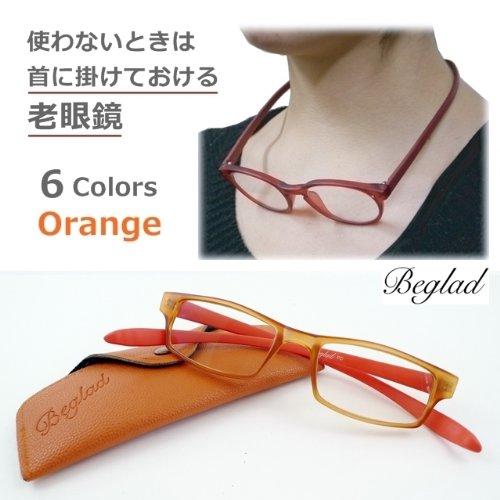 【使わない時は首に掛けられる おしゃれな老眼鏡(ケース付)】BGE1016オレンジ スクエアタイプ メガネチェーン不要