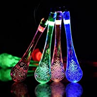 IVSO Solar Outdoor String Fairy Lights, 20ft 30 LEDs Water Drop Shape, IP65 Waterproof Solar String Fairy Lights Ambiance Lighting for Gardens, Patio, Yard, Homes, Christmas Party & Tree, and all other festivals from IVSOTEK