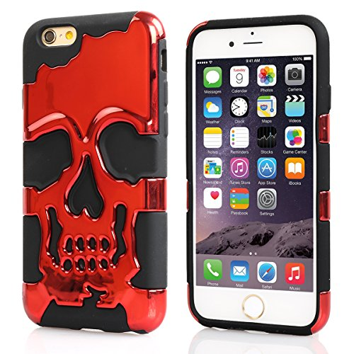 iPhone 6 Case, Pasonomi® 3D Skull Style Dual Layer PC with Silicone Back Case Cover for iPhone 6 4.7 inch (Red)