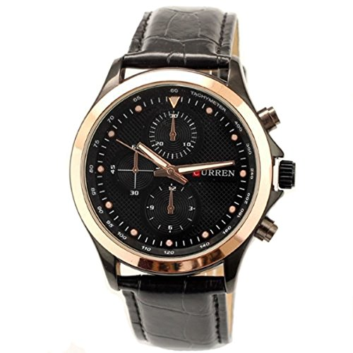 Curren Brand Leather Strap Watch For Mens Fashion Style Quartz Military Waterproof Watches