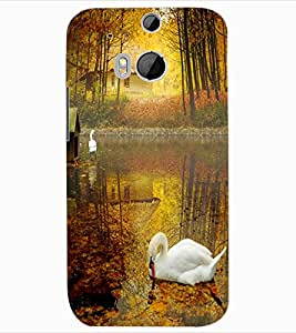 ColourCraft Lovely Duck Design Back Case Cover for HTC ONE M8