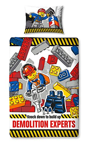 Lego City demolizione Belltex-Set copripiumino matrimoniale, in poliestere e cotone, motivo floreale, multicolore, singolo