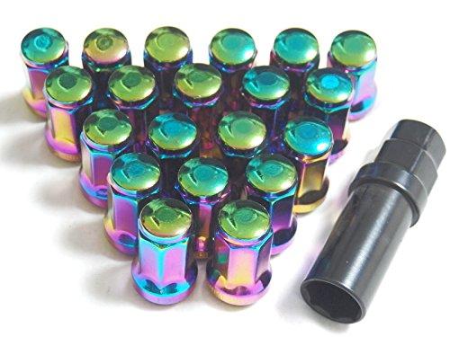 車 を手軽にドレスアップ ホイール レーシング ナット 35mm P1.25 20個 (虹色)
