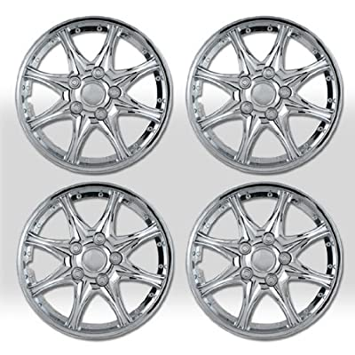 """15"""" 8 Spikes Chrome Finished Hubcap Covers Brand New Set of 4 Pieces 15 Inch Rim Cover 530"""