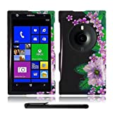 Artistic Beautiful Design Nokia Lumia 1020 Elvis (AT&T / Microsoft Windows Phone 8) Hard Protector Cover Case + Bonus Long Arch 5.5 Baby Blue Screen Cleaning Cloth + Bonus 4 Metallic Black Capacitive Stylus Pen (Green Pink on Black Flower Garden)