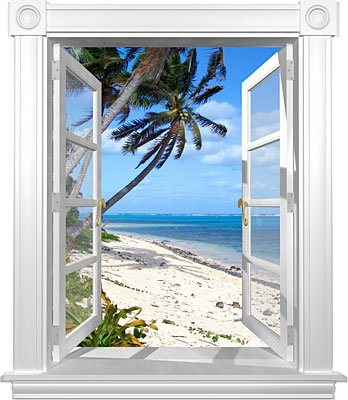 Coconut Beach Window Mural – 36″X42″ – Matte Finish