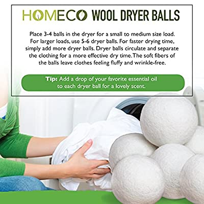 Wool Dryer Balls, 6-Pack Extra Large100% Wool, Fabric Softener, Lower Energy, Decrease Drying Time, Laundry, Reusable