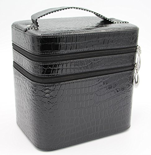 hoyofo-large-double-layer-beauty-makeup-box-sturdy-leather-cosmetic-storage-casesblack