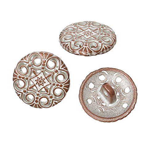 pepperlonely-brand-20pc-antiqued-copper-flower-white-spray-painted-scrapbooking-metal-sewing-buttons