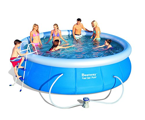 "Bestway 15'x42"" Fast Set Inflatable Above Ground Pool with 1,000 Gallon Flowclear Filter Pump"