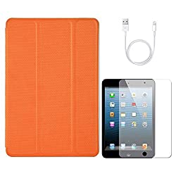 VG Ultra Thin Protective Smart Case Cover with Sleep Mode and Stand for Apple iPad Mini (Orange) + Data Cable + Matte Screen