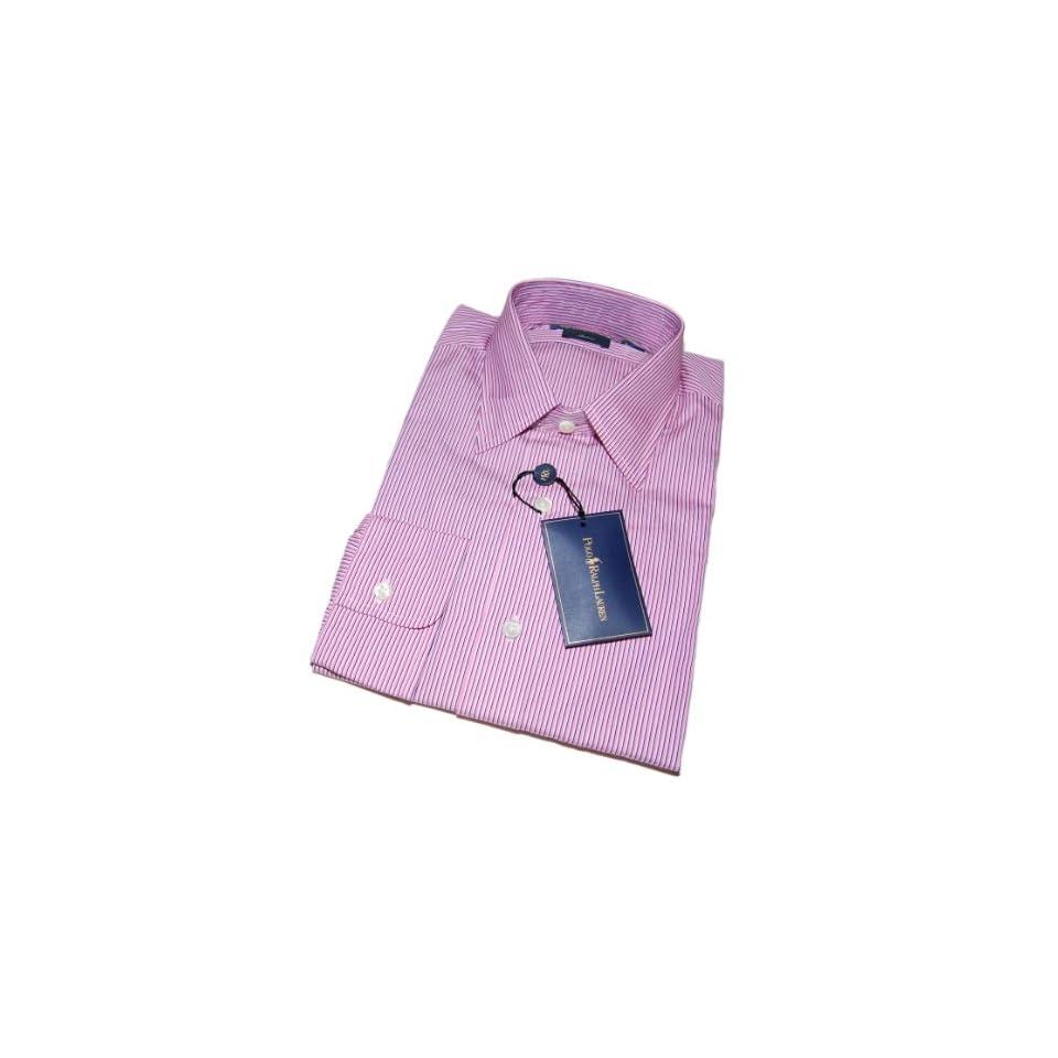 Lauren Mens Andrew Cotton Dress Shirt Pink White Stripe $145 Clothing