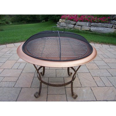 30Inch Round Fire Pit With Grill Antique Bronze