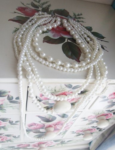 New-Fashion-Long-6-Row-White-Faux-Pearls-Necklace-35