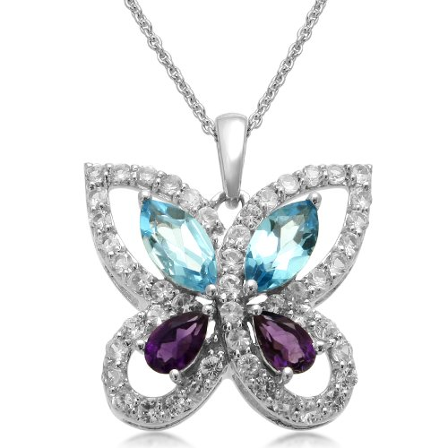 Sterling Silver and Marquise Blue Topaz Butterfly Pendant Necklace, 18