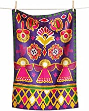 TAG Global Artistry Collection Purple Global Christmas Dishtowel