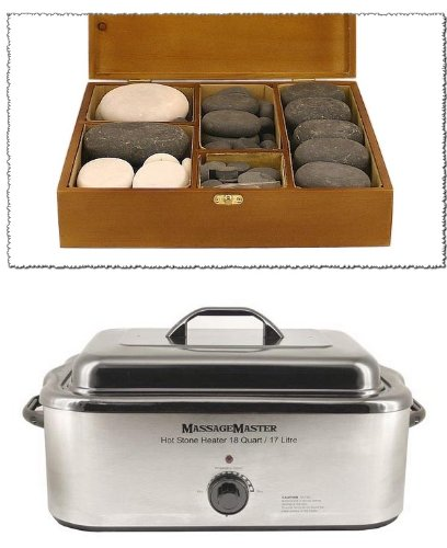 MASSAGEMASTER HOT/COLD STONE MASSAGE KIT: 68 Basalt/Marble Stones + 18 Quart Heater