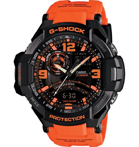 G-Shock Unisex G-Aviation Twin Sensor GA1000 Black/Orange