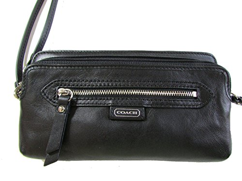 Coach Daisy Leather Double Zip Wristlet Wallet In Black 49397 front-405023