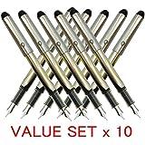 Pilot V Pen (Varsity) Disposable Fountain Pens, Black Ink, Small Point Value Set of 10(With Our Shop Original Product Description)