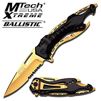 "8"" BLACK AND GOLD TITANIUM STAINLESS STEEL MTECH SPRING ASSISTED FOLDING KNIFE Blade pocket open switch- Firefighter Rescue Pocket Knife - hunting knives, military surplus - survival and camping gear by MTECH"