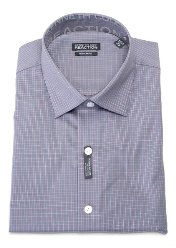 Kenneth Cole Reaction Men's Storm 100% Cotton Plaid Regular Fit Dress Shirt