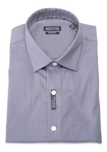 Kenneth Cole Reaction Men's Storm 100% Cotton Plaid Regular Fit Dress Shirt