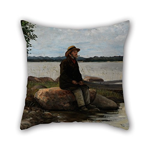 Uloveme 20 X 20 Inches / 50 By 50 Cm Oil Painting Becker Von, Adolf - An Angler Pillow Shams,2