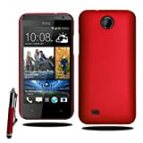 For HTC Desire 300 Stylish Armour Hard Shell Case Cover with Retractable Stylus Pen & Screen Film (Red)